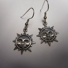 JJ PEWTER EARINGS BEAUTIFUL *** SUN FACE  *** SIGNED JJ very cool