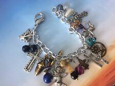 Cross Charm Bracelet Altered Art OOAK Handmade Vintage Assorted Beads Boho