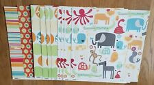 Kaiser Craft 10 Fun Fair 12x12  Doublesided Paper Hard To Find ZOO Animal Bright
