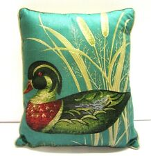 Blue Wood Duck Mallard Cat Tail  Decorative Throw Pillow Lodge Cabin Decor