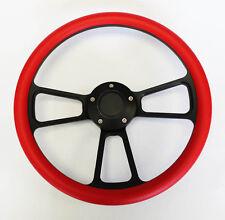 "Falcon Thunderbird Galaxie Steering Wheel Red Grip on Black 14"" Shallow Dish"