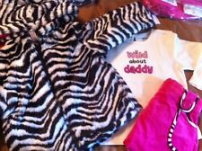 GYMBOREE~WILD ONE~18 24 MONTH~ZEBRA~FUR~COAT~DADDY~HOT~PINK~HOODED~SKIRT~SHIRT