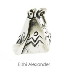 925 Sterling Silver Native American Tepee Charm Made in USA