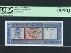 Libya:P-30, 1 Pound ,1963 2nd Issue * King Idris Era * PMG EF 45 PPQ *
