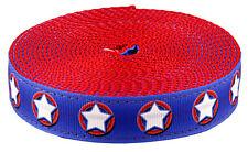 Country Brook Design® 1 Inch American Stars Ribbon on Red Nylon Webbing, 5 Yards
