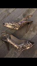 Jimmy Choo Shoes Leopard Shimmer Sling Back Gold US 37.5 Nova Authentic