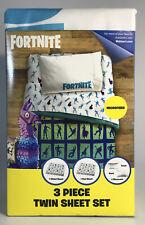 Fortnite Llama 3 Piece Microfiber Twin Bedding Sheet Set & Pillowcase Kids Teens