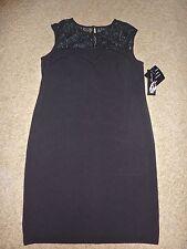 NWT $99 Nine West Black Lace Detail Shift/Sheath Dress 10