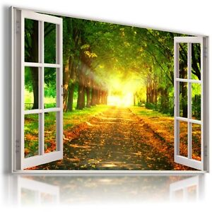 GOLDEN FOREST TREES 3D Window PERFECT View Canvas Wall Art Picture W506  MATAGA