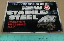 VTG NOS old AC Stainless Steel Radiator Pressure Caps Racing Foil decal sticker