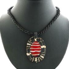 UNIQUE OVAL CONE SHELL RED CORAL BLACK SEED BEADS necklace