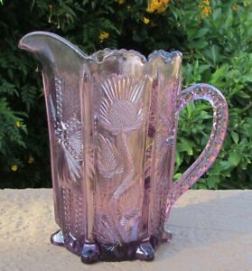 Mosser Amethyst Purple Color Pressed Glass Pitcher Scalloped Top Thistle & Wheat