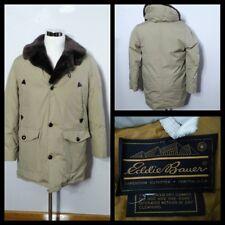 Eddie Bauer Vintage Down Coat Men's Lg. Beige w/ Brown Faux Fur Collar Inv#S9201