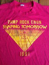 Vintage 50/50 1991 Camp Rock Enon Boy Scouts Bsa Shenandoah Virginia T-Shirt S-M