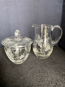 Vintage 3 Pc Crystal Creamer Covered Sugar Bowl with Etched Flowers Portugal B12