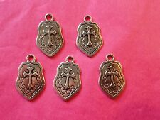 Tibetan Silver Knights Shield/Armour Charms 5 per pack
