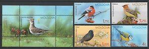 Moldova 2015 Birds 4 MNH stamps + Block