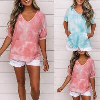 Women's Printed Short Sleeve Tops T-Shirt Ladies Casual V Neck Pocket Blouse Tee