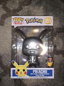 "Funko POP! Games: Pokémon Pikachu 10"" Metallic Vinyl Figure Target Con #353"