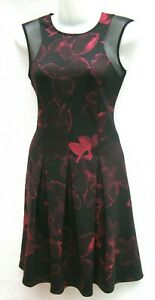 NEXT BLACK & RED FLORAL SLEEVELESS SCUBA SKATER DRESS RRP £52 Sizes 8,10