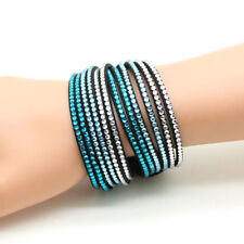 Leather Wrap Bracelet Choker Crystal Rhinestone MultiLayer Turquoise