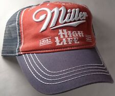 Hat Cap Licensed Miller High Life Grey Red Faded Mesh CC