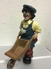 """Gilde Clown """" Mit Schubkarre """" 21 cm. Top Zustand !!"""