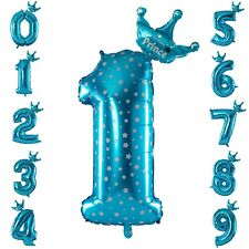 Prince Crown Blue & White Star Number Balloons Boys Birthday Party Decoration