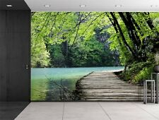Bridge by a Lake Surrounded by Trees - Wall Mural, Removable Sticker- 66x96