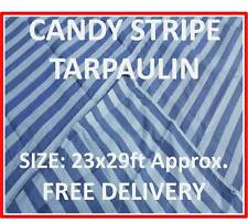 Heavy Duty Tarpaulin Stripped Blue & White, 23 x 29ft, Market Stall Cover,170GSM
