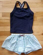 Nwt Hanna Andersson Blue Stripe Swim Skirt Shorts Navy Tankini Swimsuit 110 5