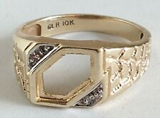 Vintage Men's GLR 10k Solid Yellow Gold Diamond Ring Size 10.25