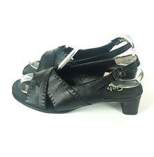 Gabor Comfort Ladies Black Leather Open Toe Block Heel Sandals Shoes UK Size 4.5