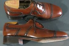 Vintage 60s BOSTONIAN FOOTSAVER Perf Captoe Oxford Shoes 7.5 D/B Burnished Tan