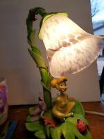Vintage Disney Tinker Bell Lamp With Tulip Shade 2004  Hampton Bay.