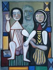 1989 LARGE ABSTRACT OIL BOARD - THREE FIGURES - SIGNED IN ARABIC & DATED 1989