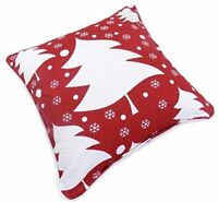 "CHRISTMAS TREES SNOWFLAKES 100% COTTON RED WHITE CUSHION COVER 17"" - 43CM C18"