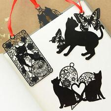 5pcs Cute Metal Bookmark Black Cat Shape Stationery Hollow Metal New Bookmarks