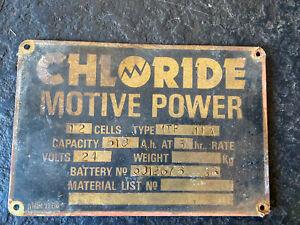Vintage Brass Sign 'CHLORIDE MOTIVE  POWER'