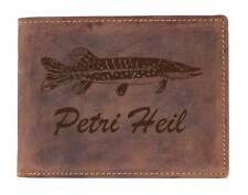 Greenburry Leder Portemonnaie mit Angler Motiv Geldbörse Lederbörse Geldbeutel