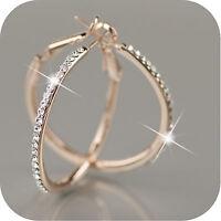 18k rose gold gp made with SWAROVSKI crystal hoop stud earrings hoops