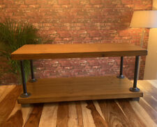 Industrial Bespoke Coffee Table TV Stand. Solid Wood & Metal Pipe. Various Sizes