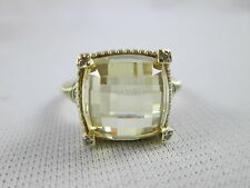 Judith Ripka Solid 14k Gold Yellow Citrine & Diamond Prong Ring 9