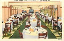 Burlington VT Art Deco Park Cafe And Sea Grill~Dining Room~1940s Postcard