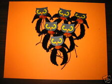 Primitive Vintage Style Halloween Owl Ornaments Chenille Feather Tree new