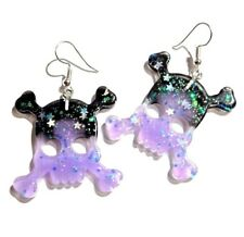 Purple & Black kitsch glitter skull hypoallergenic hook earrings pastel goth 3H