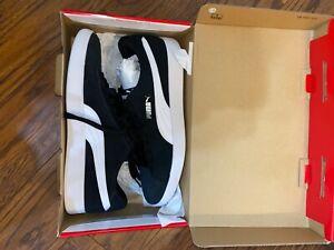 Puma Men's Smash V2 Leather Tennis Lace Up Shoes - Black Men's Size 10