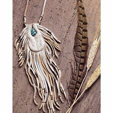 New Free People Natural Earth Medicine Bag Necklace w/ Turquoise Nugget Stone