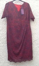 Twiggy M&S Collection Navy Lace/Red Secret Slimming Wedding/Occasion Dress 18