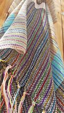 100% Cotton Handmade Knit Poncho Scarf w/ Collar Striped Multi Colors Black Blue